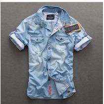 Camisa Jeans David Beckham Manga Curta. Pronta Entrega