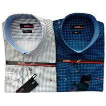 Camisa Social Masculina Aramis Estampada 02 Azul