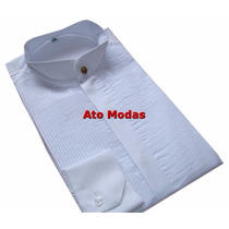 Camisa Masculina Gola De Padre Branca C/ Plissado