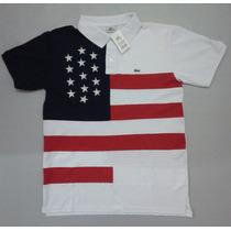 Camisa Polo Lacoste País Kit 03 Pçs Eua Portugal Australia