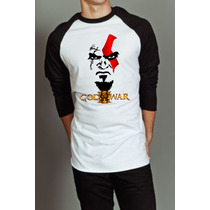 Camiseta Raglan Manga Longa God Of War Kratos Deus Da Guerra
