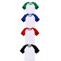 Kit 30 Camisetas Raglan P/ Sublimação Mangas Coloridas