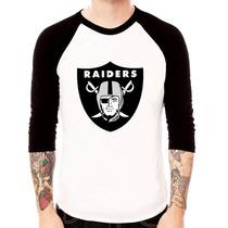 Blusa Camiseta Raglan 3/4 Oakland Raiders Futebol Americano