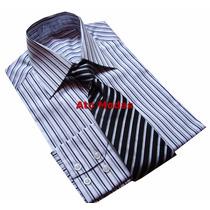 Camisa Masculina Botão Duplo Listrada N.02 (p)