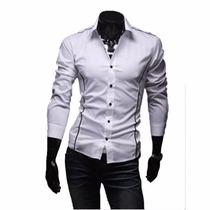Camisa Masculina Manga Longa Slim Fit - Pronta Entrega
