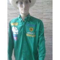 Camisa Rodeio Rockstar Ariat Verde Bordado Costa
