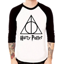 Camisa Blusa Raglan 3/4 Harry Potter Relíquias Da Morte