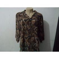 Camisa Feminina Em Chifon Estampada Tamanho Gg