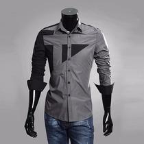 Camisa Slim Fit Boutique Pronta Entrega Bicolor C/ Detalhe
