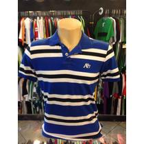 Camiseta Polo Aeropostale Azul Com Branco Tam P #989 Origina