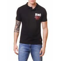 Camiseta Polo Ecko Preta Tam G - Regata Camisa Top