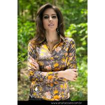 Camisa Social Toque De Seda Marrom E Amarelo - 1031