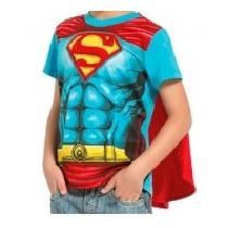 Camiseta Fantasia Super Homem Capa Original Tam 1 Bebê Neném