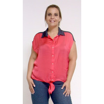 Camisa Cetim - Plus Size