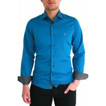 Camisas Social Polo Azul Acetinado Lindas (pronta Entrega)