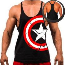 Camiseta Regata Cavada Musculação Academia Capitão América