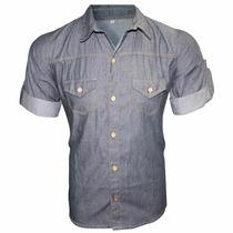 Camisa Fit Slim Masculina Com Tecido Jens Escuro Chambrey