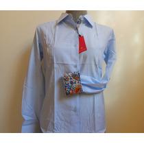 Camisa Social Feminina Original Listrada Branca Azul Tam 40