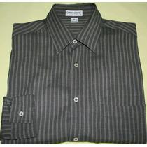 Camisa Social Giorgio Armani Marrom Listrada Tam. P