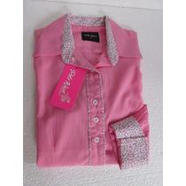 Camisa Country Feminina Rosa Manga Longa Tecido Algodão