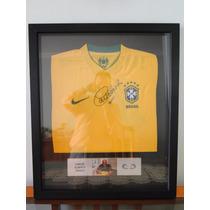 Camisa Brasil Carlos Alberto Torres Autografada No Quadro
