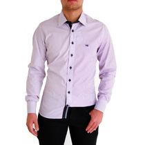 Camisa Slim Fit Dml Rosa Listrada ( Pronta Entrega) Fio 100