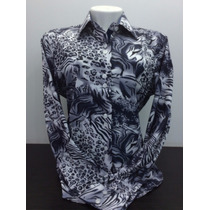 Camisa Feminina, Animal Print, Slim Fit, Com Elastano - A11