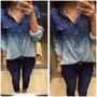 Camisa Jeans Estampada Feminina Tie Dye Manchada Frete Grati