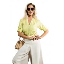Camisa Social Verde Feminina Principessa Giane