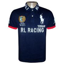 Camisa Polo Ralph Azul Marinho Rl Racing Detalhe Vermelho
