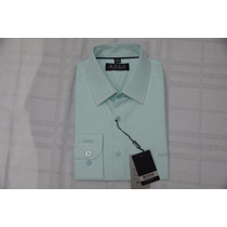 Camisa Social Masculina Hugo Boss Cor Verde Claro .
