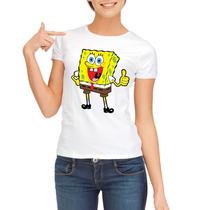 Camiseta Baby Look Bob Esponja Camisa Bob Esponja