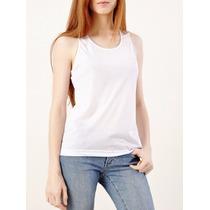 Camisa Regata Nadador Feminina Branca Para Sublimação