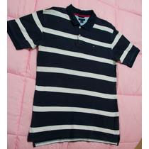 Camisa Polo Tommy Hilfiger Azul Original Linda Slim Fit