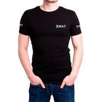 Camisa Camiseta Preta Bordada - Swat