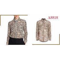 Camisa Feminina Estampa Leopardo, Manga Comprida