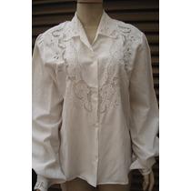 Camisa Feminina C/ Bordados Em Crivos Tam M