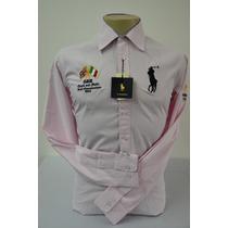 Camisa Social Polo Ralph Lauren Masculina Cor Rosa Claro