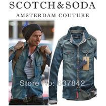 Camisa Social Masculina Jeans Blusa Deivid Beckham S & S