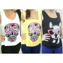 Camiseta Regata Estampada Com Caveira / Cachorro