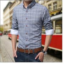 Camisa Xadrez Slim Fit Social Importada