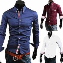 Camisas Sociais Masculinas Blusas Slim Fit Camisetas