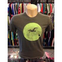 Camiseta Hollister Cinza Com Verde Tam P #999 - Polo Regata