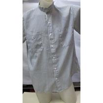 Camisa Imp Importada Listrada Branca/azul Gola Padre G 287