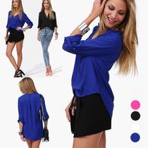 Blusa Camisa Feminina Casual Chiffon - Frete Grátis
