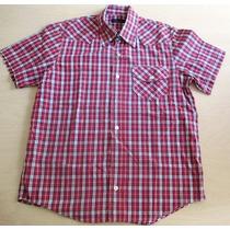 B0145 Camisa Xadrez, Mangas Curtas, Marca Zara Man 100% Al