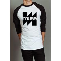 Camiseta Raglan Manga Longa Muse Banda Rock