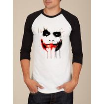 Camiseta Raglan Manga Longa Coringa Joker Why So Serious? 2
