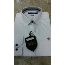 Camisa Docthos Branca Slim Símbolo Vinho Tam.m