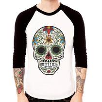 Camisa Blusa Raglan 3/4 La Caveira Mexicana